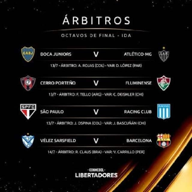 Libertadores 2021 arbitros octavos de final