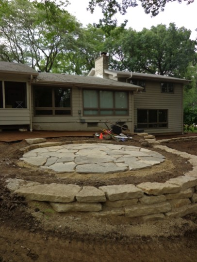 Flagstone placed for new fire pit location