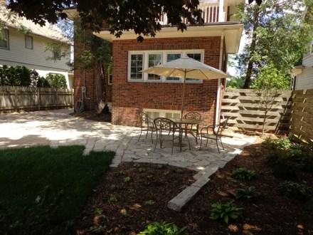 Shaded backyard with perennials