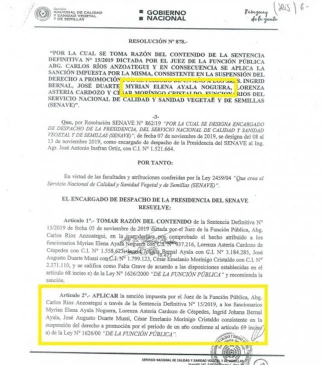 Documento. La resolución judicial no fue considerada a la hora del comisionamiento.