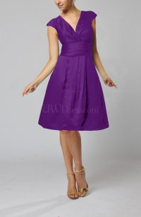 Dark Purple Elegant A-line Short Sleeve Taffeta Knee ...