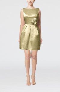 Tan Plain Sleeveless Satin Short Flower Bridesmaid Dresses ...