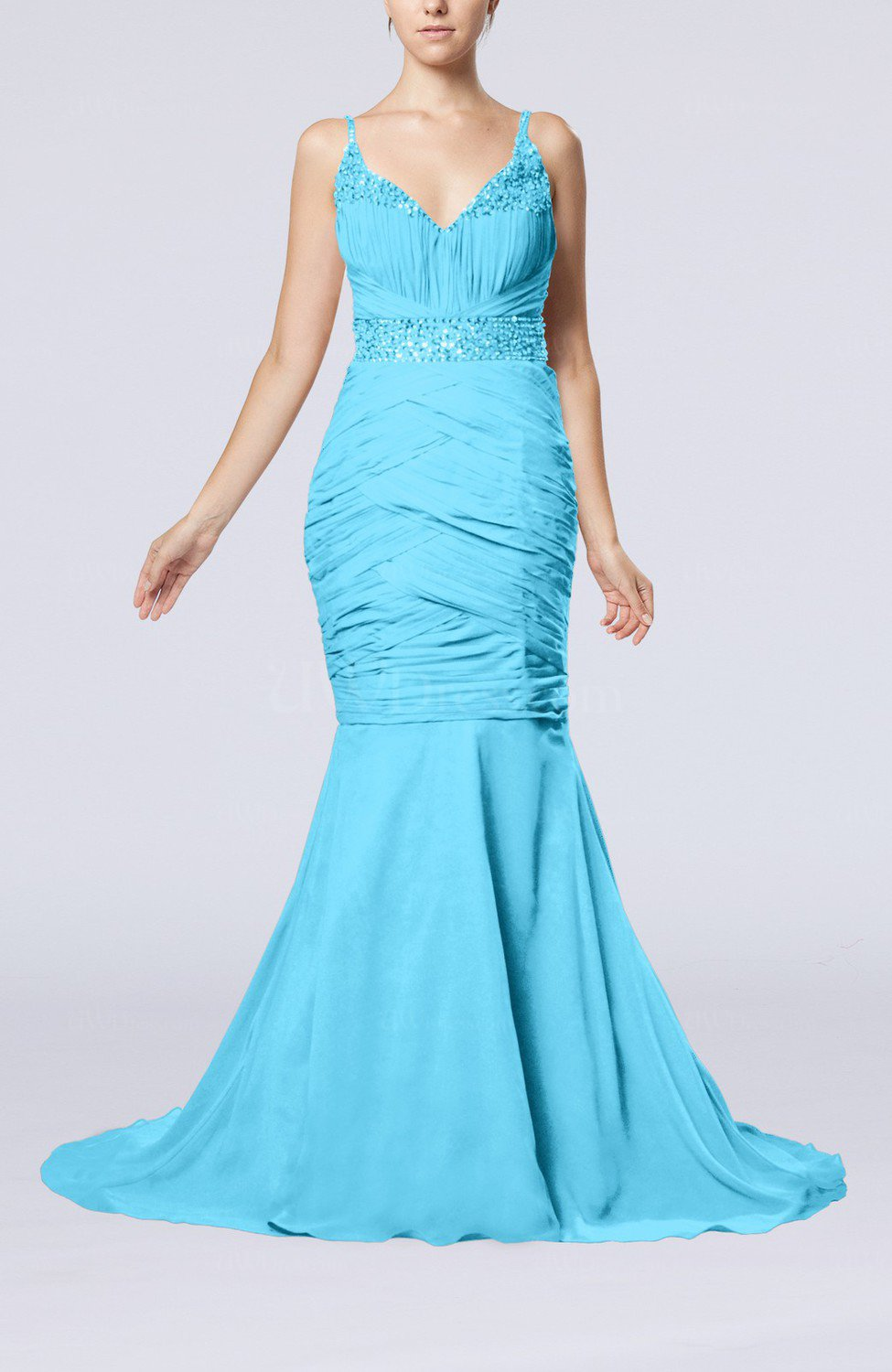 Turquoise Sexy Mermaid V Neck Sleeveless Court Train