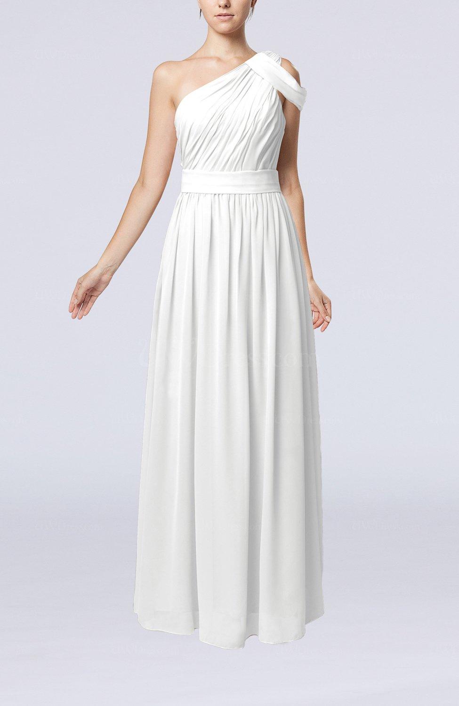 White Romantic One Shoulder Zipper Chiffon Floor Length