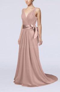 Dusty Rose Elegant A-line V-neck Sleeveless Chiffon ...