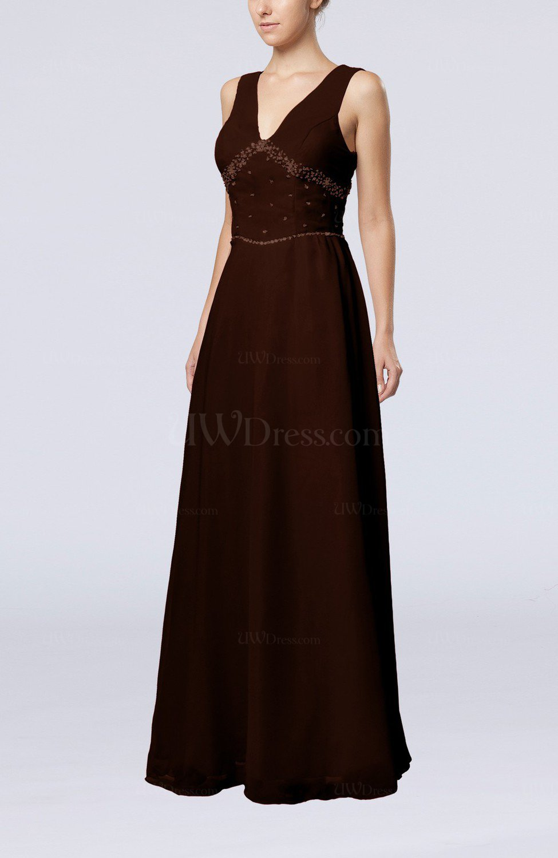 Chocolate Brown Elegant Column Sleeveless Floor Length