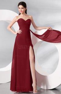 Dark Red Plain Sleeveless Zip up Chiffon Floor Length Prom ...