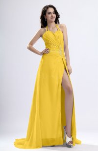 Yellow Sexy Sheath Halter Backless Pleated Evening Dresses ...