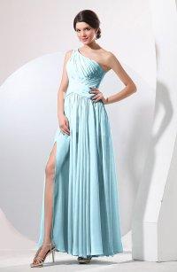 Aqua Plain Sheath Sleeveless Floor Length Pleated Prom ...