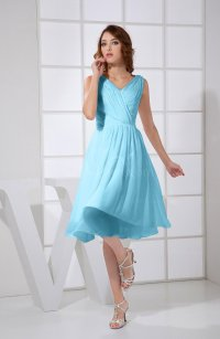 Light Blue Plain A-line V-neck Sleeveless Knee Length Prom ...