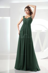 Hunter Green Casual Empire Zipper Chiffon Floor Length ...