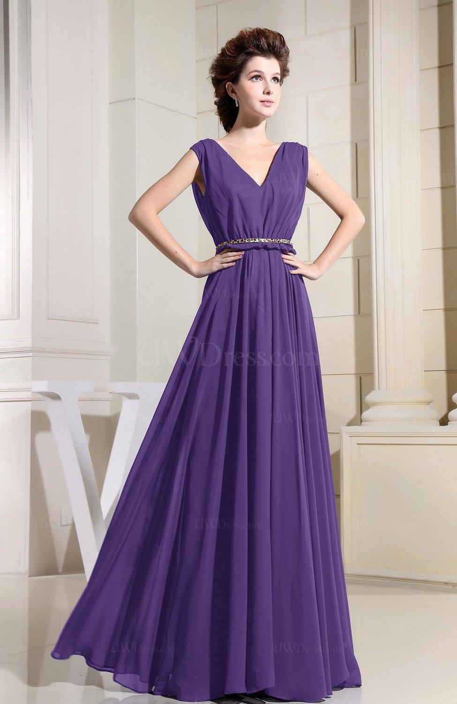Dark Purple Casual Vneck Sleeveless Chiffon Pleated Bridesmaid Dresses  UWDresscom