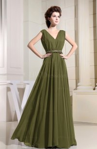 Olive Green Casual V-neck Sleeveless Chiffon Pleated ...