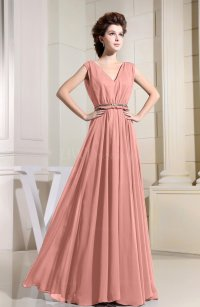 Peach Casual V-neck Sleeveless Chiffon Pleated Bridesmaid ...