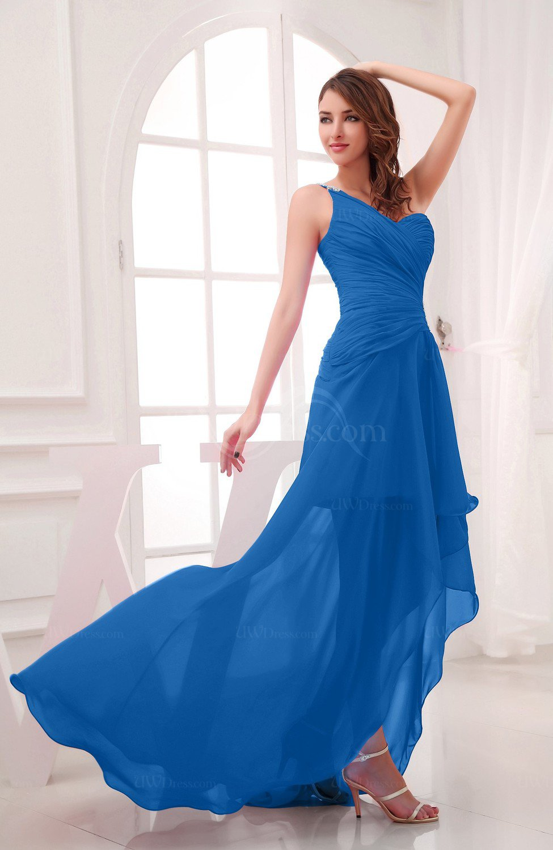 Royal Blue Romantic Asymmetric Neckline Chiffon HiLo Ruching Wedding Guest Dresses  UWDresscom