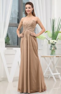Light Brown Simple Sweetheart Sleeveless Zipper Floor ...