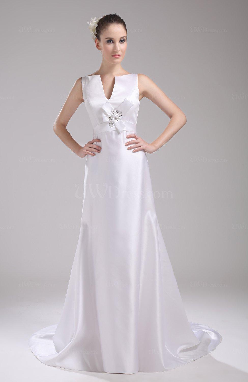 White Elegant Hall Vneck Sleeveless Zip up Satin Bridal Gowns  UWDresscom