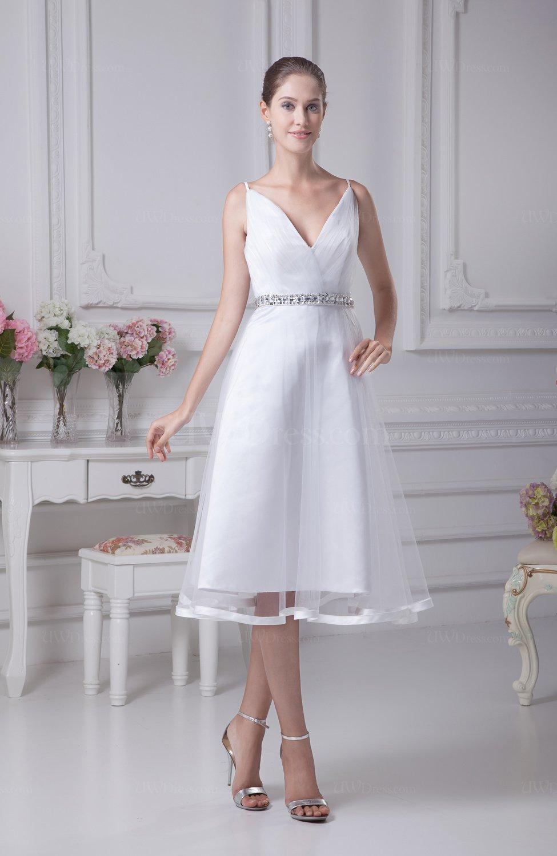 Informal Beach Aline Spaghetti Sleeveless Tea Length Bridal Gowns  UWDresscom