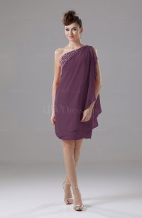 Plum Cute Sheath Sleeveless Backless Knee Length Cocktail