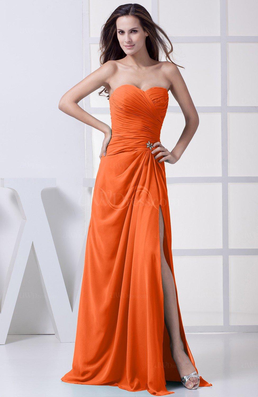 Tangerine Modest Aline Sweetheart Chiffon Floor Length Bridesmaid Dresses  UWDresscom