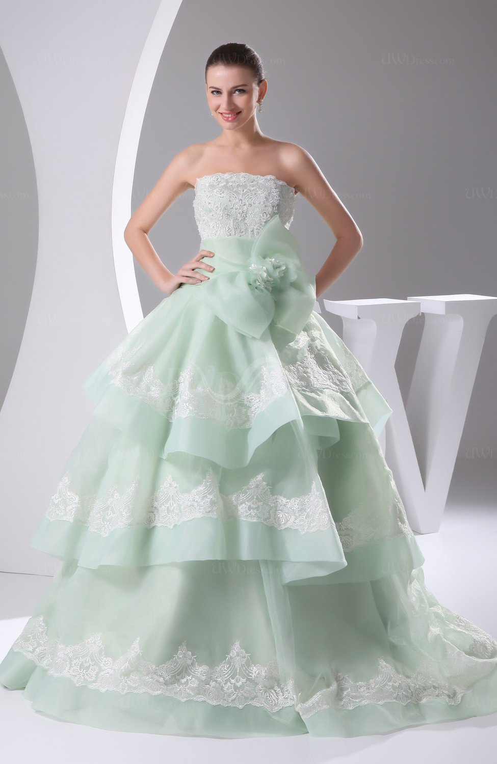 Light Green Cinderella Church Princess Sleeveless Lace up Court Train Sequin Bridal Gowns