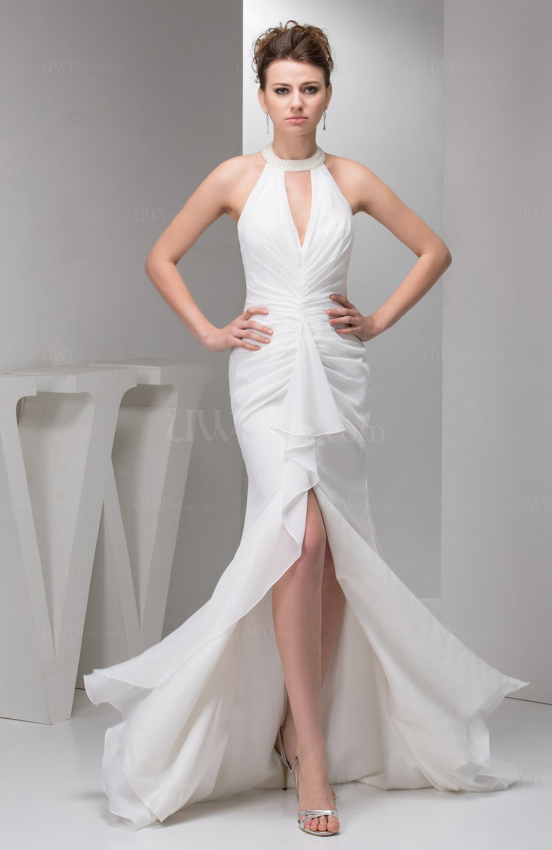 White Long Evening Dress Elegant Simple Beaded Sparkly