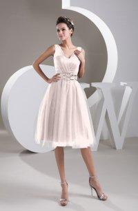 Petal Pink Inexpensive Bridesmaid Dress Short Sheer Knee ...
