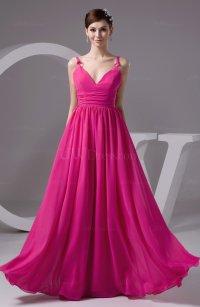 Chiffon Bridesmaid Dress Long Semi Formal Sash Simple ...