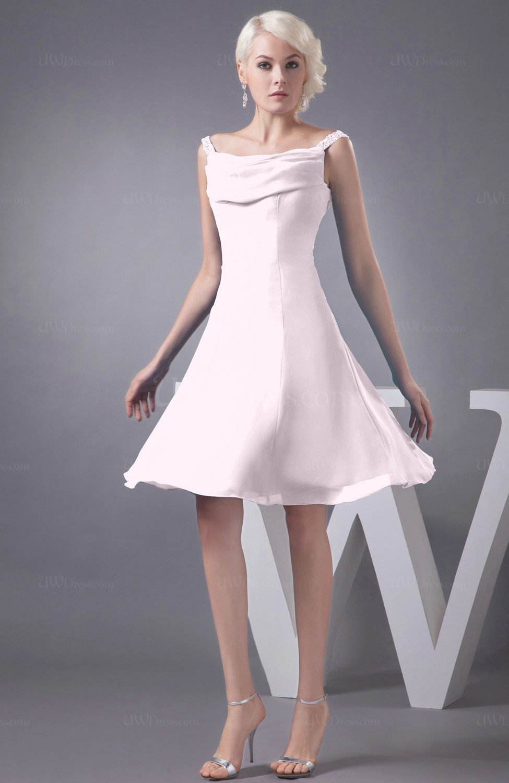 Blush Chiffon Bridesmaid Dress Short Winter Fall Formal