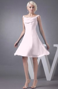 Blush Chiffon Bridesmaid Dress Short Winter Fall Formal