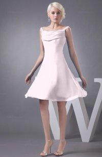 Blush Chiffon Bridesmaid Dress Short Winter Fall Formal ...