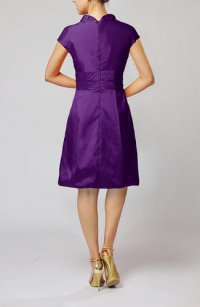 Dark Purple Modern Jewel Short Sleeve Taffeta Knee Length ...