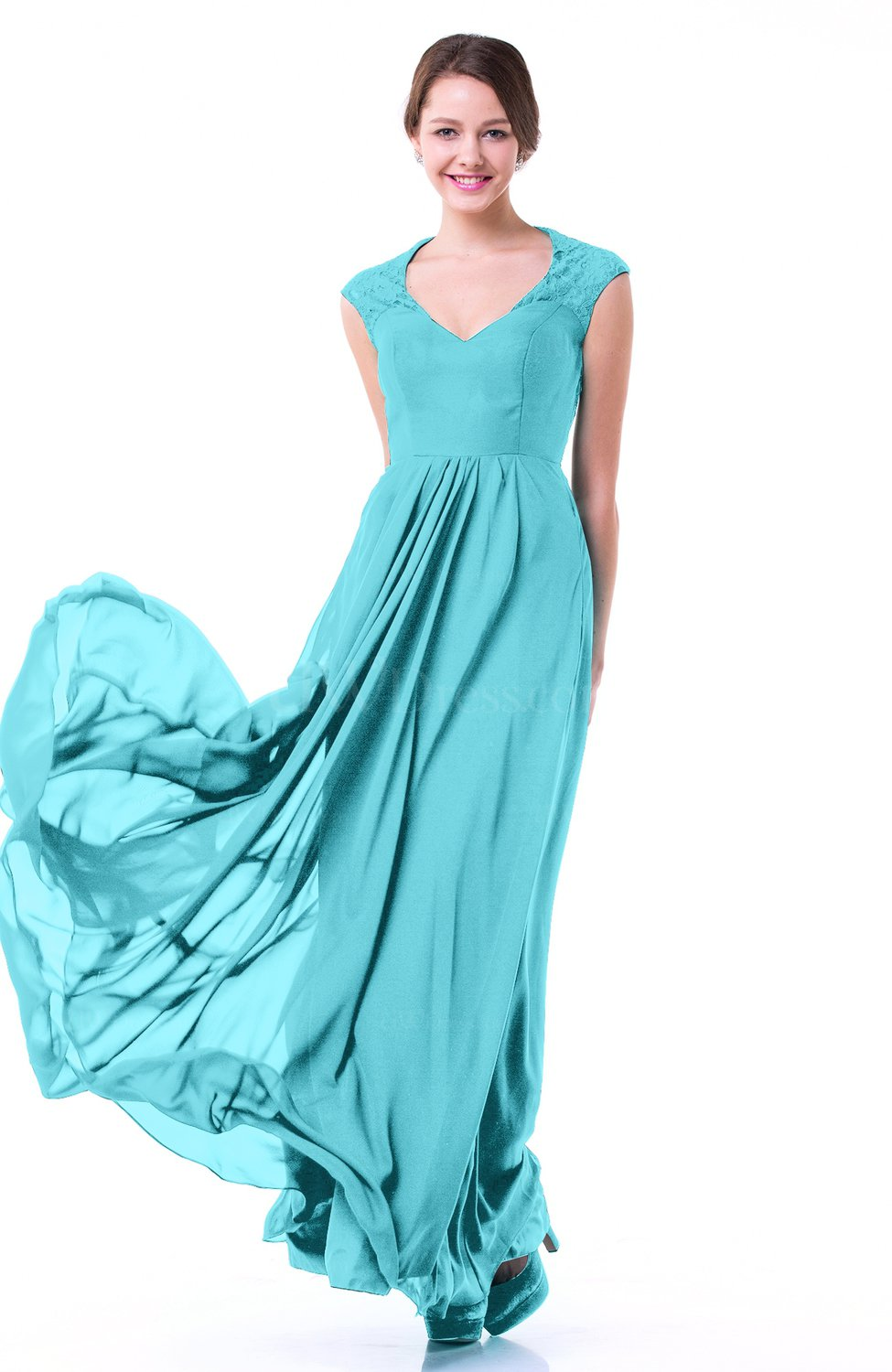 Turquoise Classic A Line Zipper Chiffon Pleated Plus Size