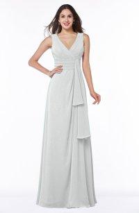 Cloud White Vintage Sleeveless Zipper Floor Length Sash ...