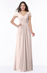 Silver Peony Modest Short Sleeve Chiffon Floor Length