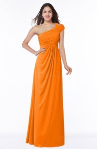 Orange Elegant One Shoulder Chiffon Floor Length Ruching ...
