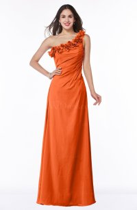 Tangerine Classic A-line One Shoulder Zip up Flower Plus ...