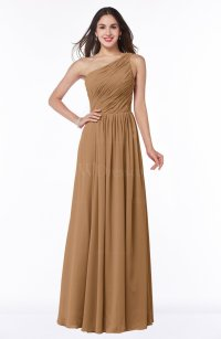 Light Brown Elegant A-line Sleeveless Chiffon Floor Length ...