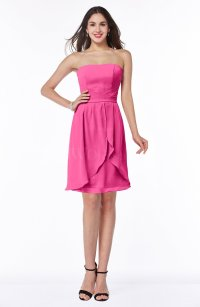 Rose Pink Glamorous A-line Strapless Sleeveless Ruffles ...