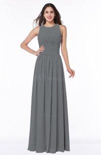 Grey Elegant A-line Jewel Chiffon Floor Length Plus Size ...