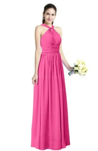 Rose Pink Traditional A-line Halter Criss-cross Straps ...