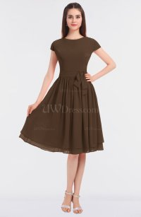 Chocolate Brown Antique Jewel Short Sleeve Knee Length ...