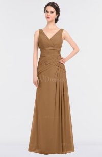 Light Brown Elegant A-line Sleeveless Floor Length Ruching ...