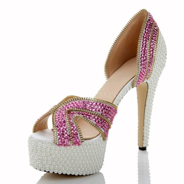 Hot Pink Average Wedding Shoes Women' Patent Leather Rhinestone Sandals Graduation