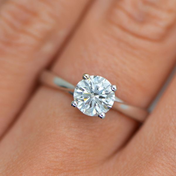 1 Carat Cut Vs2 Diamond Solitaire Engagement Ring 14k White Gold