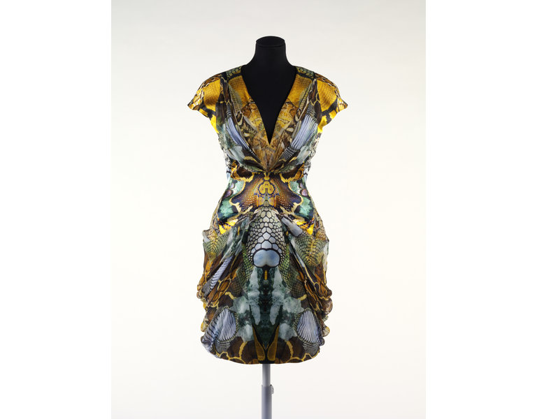 Dress, digitally printed silk satin and silk chiffon, Alexander McQueen SS 2010