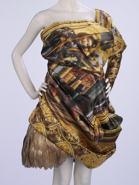Alexander McQueen dress with print based on Stefan Lochner's 15th-century Altarpiece of the Patron Saints of Köln,