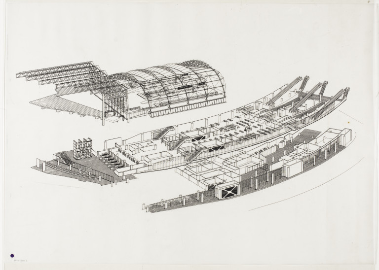 Exploded axonometric drawing of a design for Waterloo