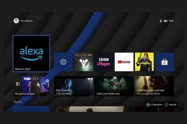 Aplicación de Alexa en Xbox. Captura de The Verge.