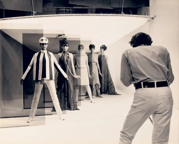Jill Kennington (left) with Peggy Moffitt and other London models in Michelangelo Antonioni's Blow-Up